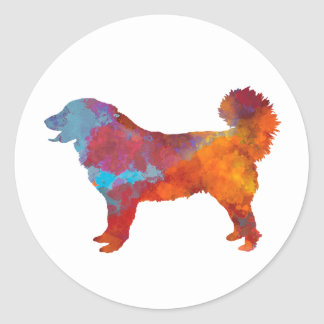 Sticker Rond Yugoslavian Shepherd DOG in watercolor