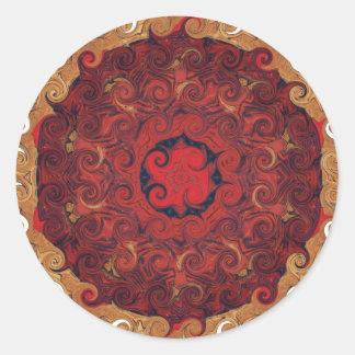 Sticker Rond ZEN bouddhiste de rouge de MANDELA