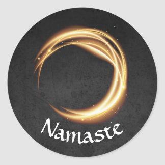 Sticker Rond ZEN d'or de noir d'instructeur de méditation de