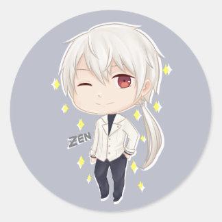 Sticker Rond Zen mystique de Chibi de messager