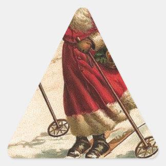 Sticker Triangulaire art vintage de vacances d'hiver de Noël de