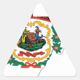 Sticker Triangulaire Carte de drapeau de la Virginie Occidentale