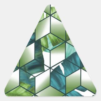Sticker Triangulaire Conception cubique tropicale de feuille de banane