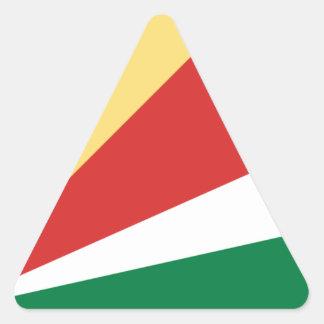 Sticker Triangulaire Coût bas ! Drapeau des Seychelles