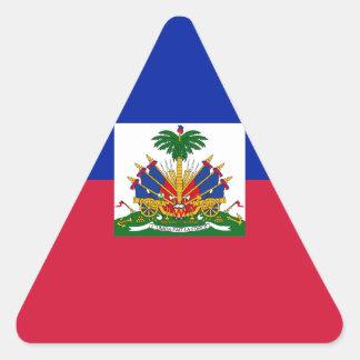 Sticker Triangulaire Coût bas ! Drapeau du Haïti