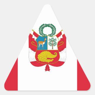Sticker Triangulaire Coût bas ! Drapeau du Pérou
