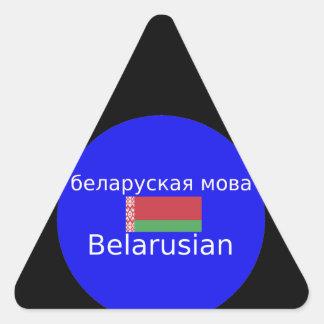 Sticker Triangulaire Drapeau du Belarus et conception de langue