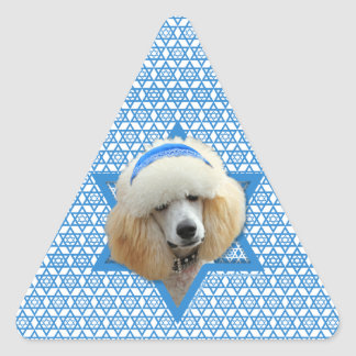 Sticker Triangulaire Étoile de David de Hanoukka - caniche - abricot