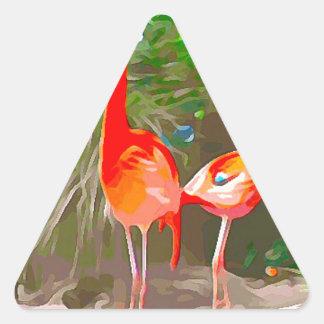 Sticker Triangulaire Flamants roses à Key West