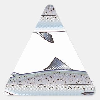 Sticker Triangulaire Illustration de poissons d'océan de saumon