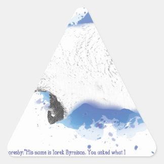 Sticker Triangulaire Iorek, ours blindé de ses matériaux foncés