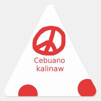 Sticker Triangulaire Langue de Cebuano et conception de symbole de paix