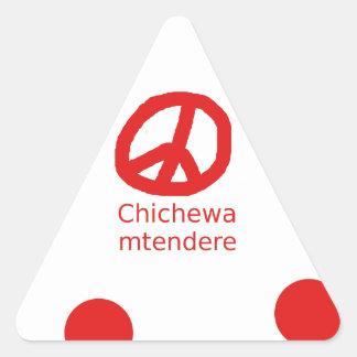 Sticker Triangulaire Langue de Chichewa et conception de symbole de