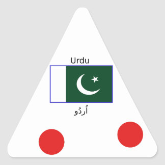 Sticker Triangulaire Langue d'Urdu et conception de drapeau du Pakistan