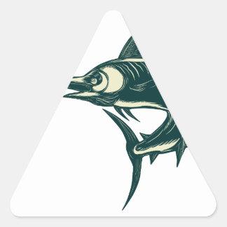 Sticker Triangulaire Marlin bleu atlantique Scraperboard