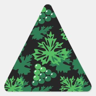 Sticker Triangulaire motif sans couture de feuille avec des raisins