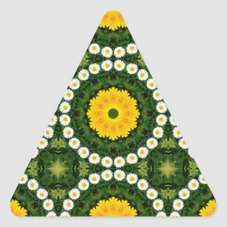 Sticker Triangulaire Nature de marguerites, Fleur-Mandala