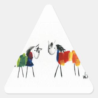 Sticker Triangulaire Peu de poneys d'arc-en-ciel