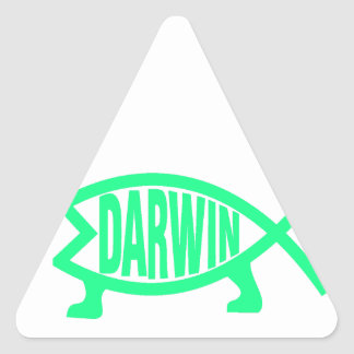 Sticker Triangulaire Poissons originaux de Darwin (Seafoam)