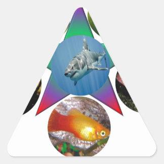 Sticker Triangulaire poissons, poisson rouge, carpe, pêche, mer, océan,