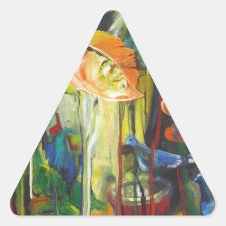 Sticker Triangulaire Printemps et pigeons
