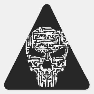 Sticker Triangulaire Produits de crâne et d'armes à feu et de couteaux