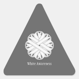 Sticker Triangulaire Ruban de fleur blanche