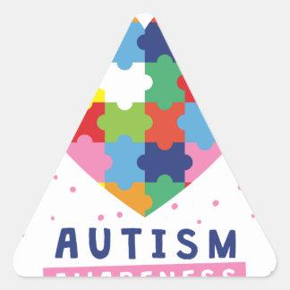 Sticker Triangulaire sensibilisation sur l'autisme rose