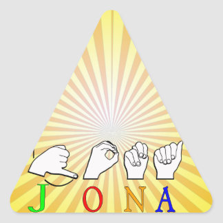 STICKER TRIANGULAIRE SIGNE NOMMÉ DE JONA ASL FINGERSPELLED