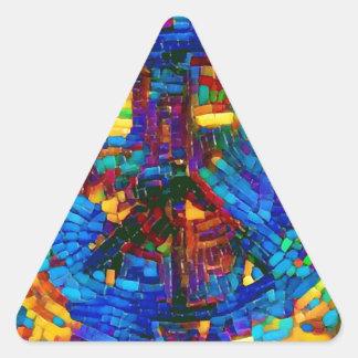 Sticker Triangulaire Symbole de paix coloré de mosaïque
