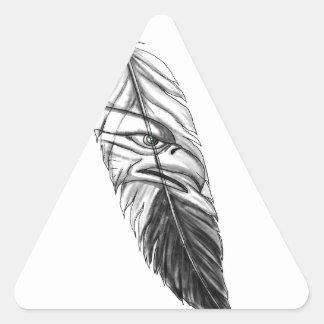Sticker Triangulaire Tatouage de plume d'Eagle de mer