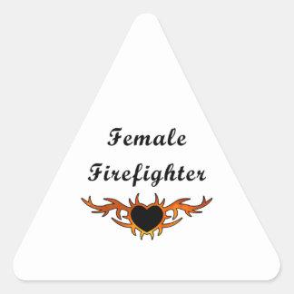 Sticker Triangulaire Tatouage femelle de sapeur-pompier