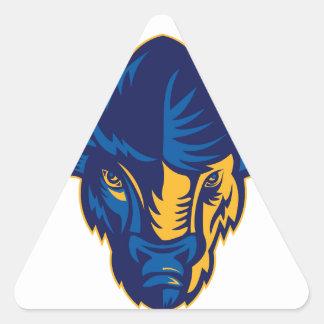 Sticker Triangulaire Tête de bison américain rétro