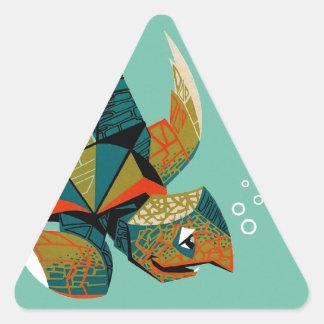 Sticker Triangulaire Tortue de mer australienne gaie