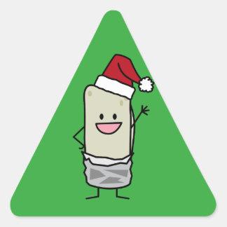 Sticker Triangulaire Vacances de ondulation de casquette de Père Noël