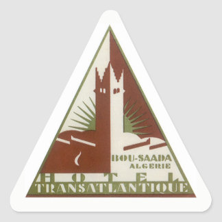 Sticker Triangulaire Voyage vintage, hôtel de transport Atlantique,