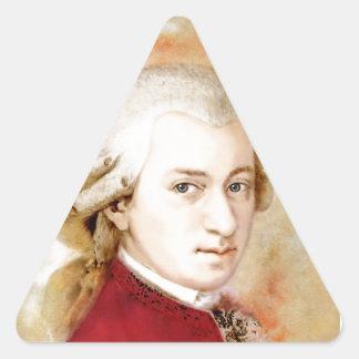 Sticker Triangulaire Wolfgang Amadeus Mozart dans l'aquarelle style