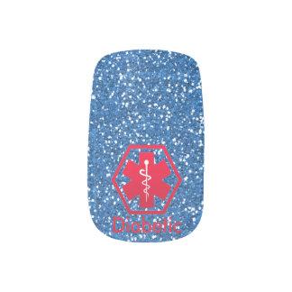 Stickers Pour Ongles Alerte diabétique sur le scintillement bleu