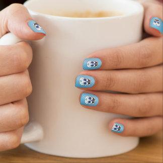Stickers Pour Ongles Argent avec les clous bleus de crâne de sucrerie
