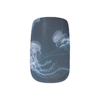 Stickers Pour Ongles Art bleu de clou de méduses