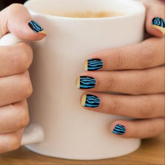 Stickers Pour Ongles Clous bleus inclinés par or chic d'impression de