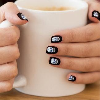 Stickers Pour Ongles Clous bleus noirs de crâne de sucrerie