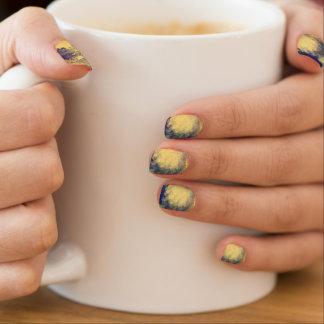 Stickers Pour Ongles Clous de marbre bleus et jaunes