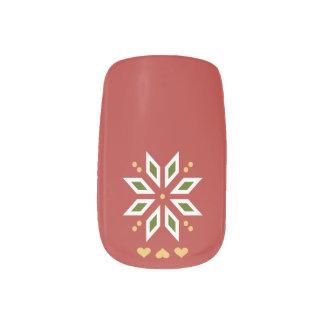 Stickers Pour Ongles coeurs rouges de poinsettia d'hiver de Noël