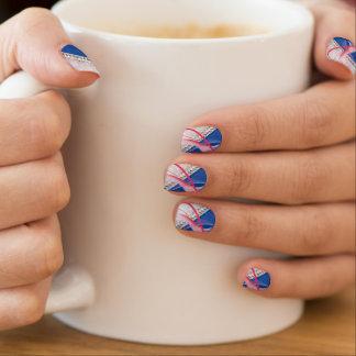Stickers Pour Ongles Conception fuchsia bleue de diamant