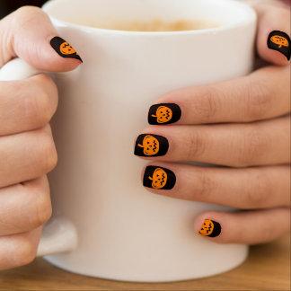 Stickers Pour Ongles Découpage noir et orange de citrouille de partie