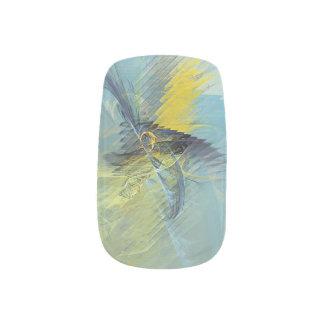 Stickers Pour Ongles Fractale bleu-clair d'abrégé sur jaune