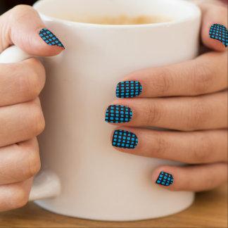 Stickers Pour Ongles Grille au néon bleue et noire