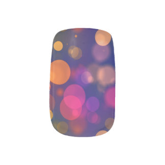 Stickers Pour Ongles Motif pourpre, bleu, rose lumineux d'arrière -