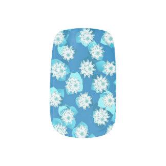Stickers Pour Ongles Motif, turquoise, bleu et blanc de nénuphar